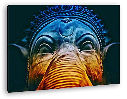 indische Elefanten Gottheit Format: 60x40 Effekt: Zeichnung als Leinwand, Motiv fertig gerahmt auf Echtholzrahmen, Hochwertiger Digitaldruck mit Rahmen, Kein Poster oder Plakat