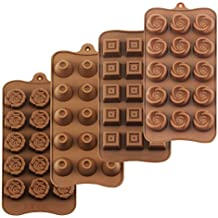HomEdge Truffle Mold, juego de 4 paquetes de moldes de silicona antiadherente de grado alimenticio