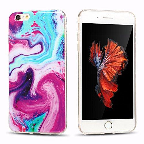 iphone 6 plus Hülle, Marmor Design Muster TPU Dünn Silikon Schutzhülle für iphone 6 plus , E-lush Kristallklar Durchsichtig Kratzfeste Handyhülle Ultra Chic Thin Weich Schutzhülle Rückschale Etui Bump Rot und blau