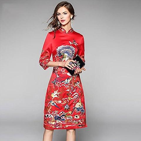 WZH Collar de Bodycon Retro Chinoiserie permanente de las mujeres falda de Jersey vestido paso . red . l