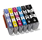 6 Druckerpatronen für Canon PGI-580 XXL CLI-581 XXL mit Chip kompatibel für Pixma TS6150 TS6151 TR7550 TR8550 TS8150 TS8151 TS8152 TS9150 TS9155 (1Schwarz, 1 Fotoschwarz, 1 Cyan, 1 Magenta, 1 Gelb, 1 Fotoblau)