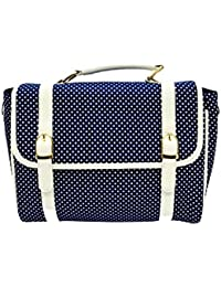 Aarka Women's Leather And Fabric Sling Bag Blue Polka Dot SB02
