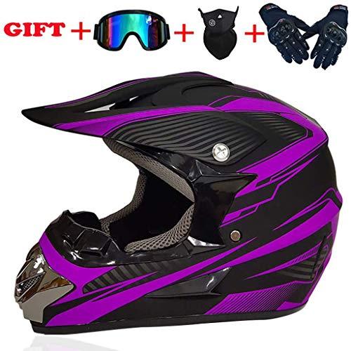 YYTK Motorradhelm Motocross Helm, Dot Zertifiziert, Erwachsenen Motocross, Helm Mit Brillenhandschuhen Maske, Damen Herren Und Kinder Erwachsene,größe:54-63cm-purple-XL