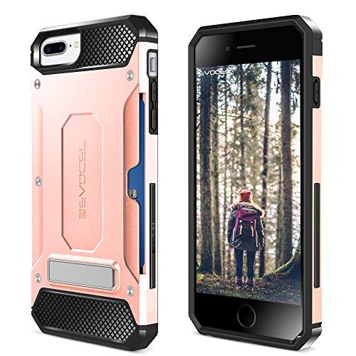 iPhone 7 Plus Case, Evocel [Explorer Series Pro] Premium Dual Layer Protector [Metal Kickstand][Credit Card Slot] For iPhone 7 Plus / iPhone 6 Plus (5.5 inch), Black (EVO-IPH7PLUS-CK01) Rose Gold