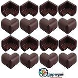 Quaprogen Right Angle Kids Soft Anti Crash Bumper Desk Table Edge Corner Protector Sticker Cushion Pad (Brown) - Pack of 16