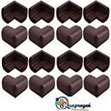 #9: Quaprogen Right Angle Kids Soft Anti Crash Bumper Desk Table Edge Corner Protector Sticker Cushion Pad (Brown) - Pack of 16