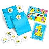 10 Einladungskarten zum 1. Kindergeburtstag blau / bunte Einladungen zum Geburtstag für Jungen/Mädchen