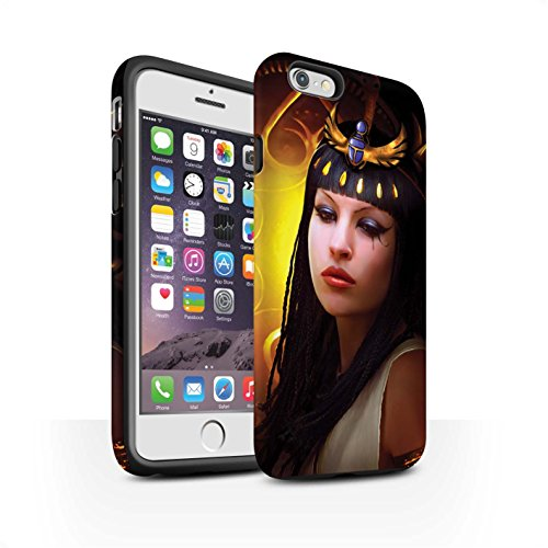 Officiel Elena Dudina Coque / Matte Robuste Antichoc Etui pour Apple iPhone 6 / Loups Blancs Design / Les Animaux Collection Cleopatra/Serpent Doré