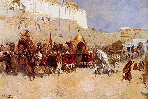 Toperfect 50€-2000€ Handgefertigte Ölgemälde - Hochzeit Prozession Jodhpur Edwin Lord Weeks Gemälde auf Leinwand Kunst Werk Ölmalerei - Malerei Maße02