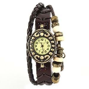 Yesurprise Montre quartz Vintage Avec pendentif Chat Knitted Bracelet en cuir Classique Bronze cadran 5 couleurs -3