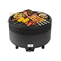 Kbabe Portable BBQ Grill with Fan Removable Plates Easy Clean Smokeless Charcoal Barbecue for Camping Picnic Outdoor - Black 5