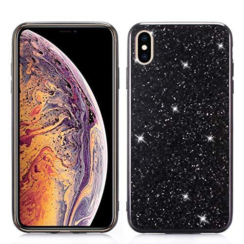 Funkeln Hülle für iPhone XR 6.1 inch, iPhone XR Handyhülle Luxus Mode Design,Hart PC Zurück + Stoßfest TPU Rahmen Stoßstange Schutzhülle-Schwarz ()