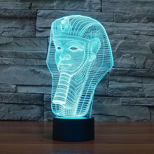(3D Optical Illusion Lampe LED Ägyptische Pharao-Maske Ägyptischer Pharao Nachtlichter Licht Optisch -Lampe in 7 Farben USB-Nachtlicht mit Touch-Button für und Valentine Nachtlicht LED-Nachtlicht)