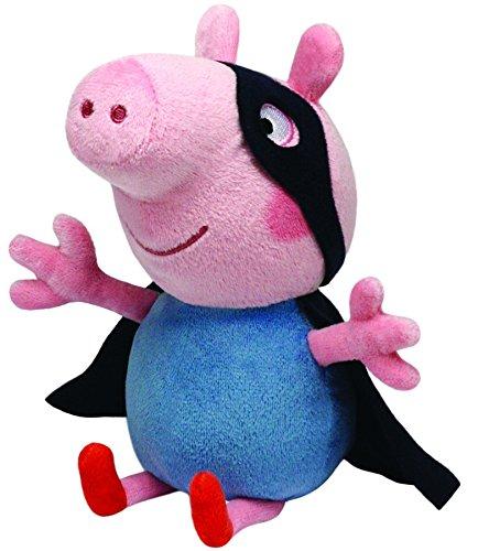 Carletto Ty 46188 Peppa Pig TY 7146188-Peppa Baby-George Superheld, Schwein mit Augenmaske und Umhang, 15 cm, pink