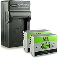 Chargeur + 2x Batterie NB-10L pour Canon PowerShot G1 X   G3 X   G15   G16   SX40   SX40 HS   SX50 HS   SX60 HS