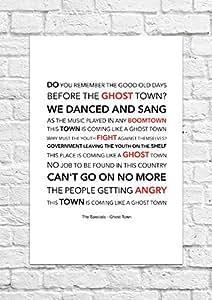 The Specials 'Ghost Town'Print Poster avec les Paroles de la chanson Taille A4