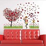 KUANGJING AbnehmbareWand StickerSweet Romantische Liebe Baum Paar Wandaufkleber Schlafzimmer für Hochzeit Dekoration Party Kinderzimmer Wandtattoos Kunstwand Poster