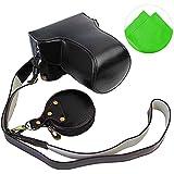First2savvv XJD-GX80-HH01 noir Qualité supérieure PU cuir étui housse appareil photo numérique pour Panasonic Lumic DMC-GX80 + Cleaning cloth