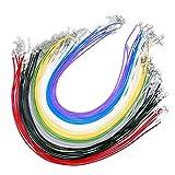 JZK 50 Pezzi 2mm Cordoncino colorato per collane con Chiusura Gancio e Catenella, Cordino Cerato cordone Imitazione Pelle Lacci Corde per collanine Fai da Te