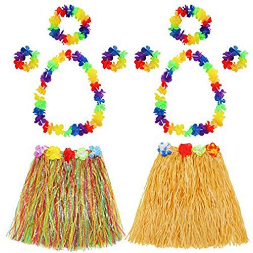 (BTTBEST Hula Gras Rock mit Blumen Leis Kostüm Set, Elastische Huau Gras und Hawaiian Flower Armbänder, Stirnband, Halskette für Party Favors, 2 Sets)