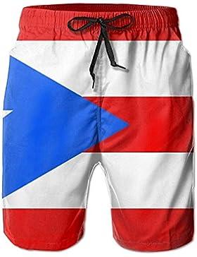 Puerto Rico Flag Men's/Boys Casual Swim Trunks Short Elastic Waist Beach Pants with Pockets