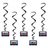 5 Décorations à suspendre Cassette années 80's - taille - Taille Unique - 227998
