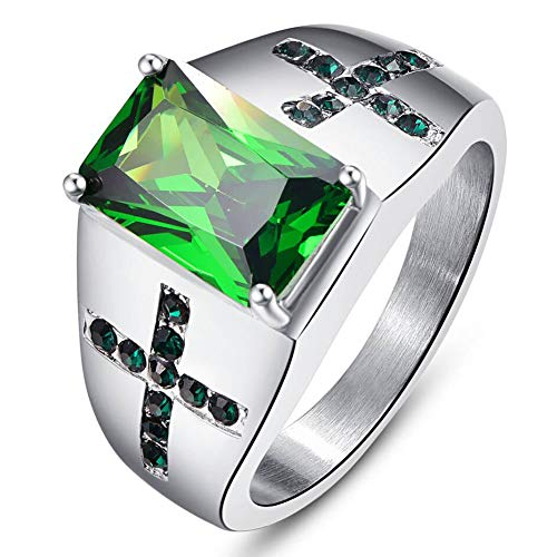 NUNCAD Ring Herren Silber-grün Simulierte Smaragd für Hochzeit, Verlobung, Alltag und Hobby