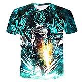 Beiläufiges Kurzarm T-Shirt Dragon Ball Z T-Shirt Herren 3D T-Shirt Super Saiyajin Goku Brolly Gedruckt Top T-Shirt Camiseta Hombre (Farbe : #19, größe : XL)