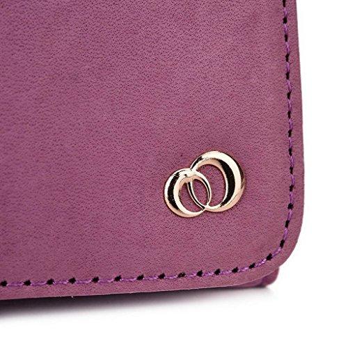 Kroo Pochette Housse Téléphone Portable en cuir véritable pour Samsung Galaxy A7Duos noir violet