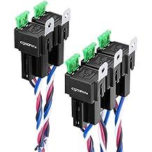 Eyourlife 5 Relés Eléctricos 12V 40A 30/40 AMP 5 Pin Cable Conector Relay Relais Relés Separador Auto con Zócalo para Alarma de Coche Vehículos