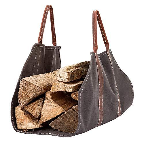 Holidayssummer Kaminholztasche, PU mit hochwertiger Kaminholztasche, Leinen-Tragetasche, gewachst, strapazierfähig, grau gewachstes Holz, Universal, Kaminofen-Zubehör