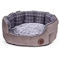 Petface Check and Bamboo Oval Dog or Cat Bed, Large, Grey
