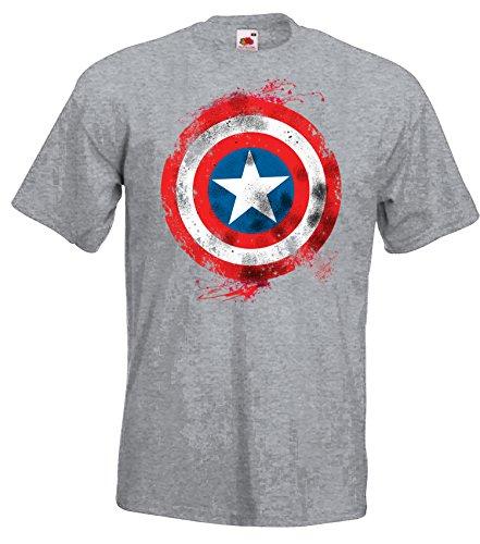 TRVPPY Herren T-Shirt Modell Captain America Brushed, Grau-Meliert, ()