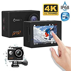 MGcool Explorer Pro2 4K Ultra HD Action Camera, 2.0 Inch Touch LCD Screen,170° Wide Angle Lens, 30m Waterproof Action Cam, Sports DVR for Diving Skiing with Accessories Kit, 100% Original(Black)