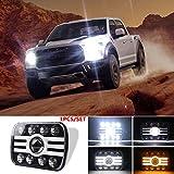 PinShang For Jeep Wrangler 500 W 30000LM 7 inch LED Headlights 5X7/7X6 Led Beam Headlamp Angel eye (8 beads with lens) H Shape Led Headlight C0021 1PCS