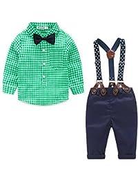 ARAUS Pantalones de Camisa de Manga Larga para niños con 2 Piezas de Baby Boys con Tirantes