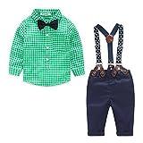 ARAUS-Baby Jungen Bekleidung Set Hemd Hose mit Hosenträger langarm karierte Hemd mit Fliege Latzhosen grün 80