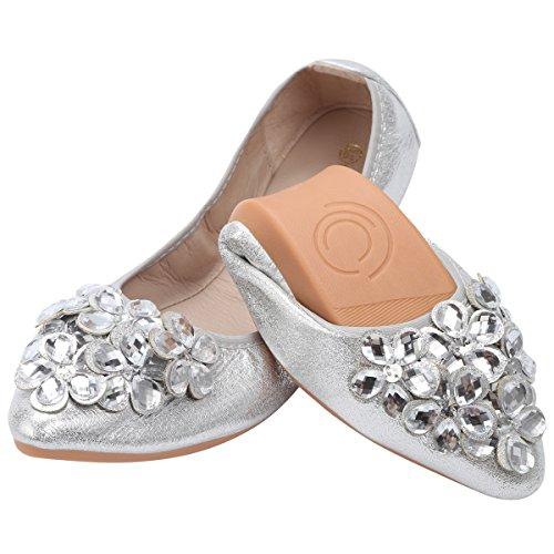 QIMAOO Mujeres Plegable Zapatos de Ballet Zapatillas de Baile Plegable Bombas Rhinestone...