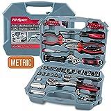 Hi-Spec Kit di attrezzi per auto e meccanici che include una Chiave a cricchetto reversibile a 72 denti a innesto, Le più comuni bussole metriche & il set di attrezzi per casa e garage.
