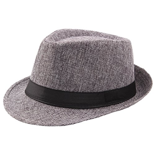 Coucoland Panama Hut Mafia Gangster Herren Fedora Trilby Bogart Hut Herren 1920s Gatsby Kostüm Accessoires (Grau)