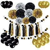 Newland 46 9 Pcs Tissue Paper Pompoms Pom Poms 15 Tassel Garland 20 Latex Balloons, 2 Polka Dot Paper Bunting – 18th 21st 30th 40th 50th 60th 70th 80th 90th Birthday, Wedding, Baby Shower, Parties, Decoration, Party Decorations