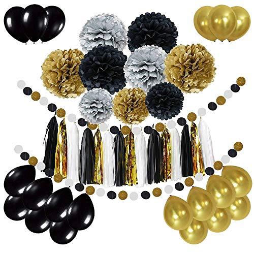 oration, Girlande mit Seidenpapier Pompoms und Luftballons für Mädchen und Jungen Jeden Alters - Schwarz, Gold und Silber ()