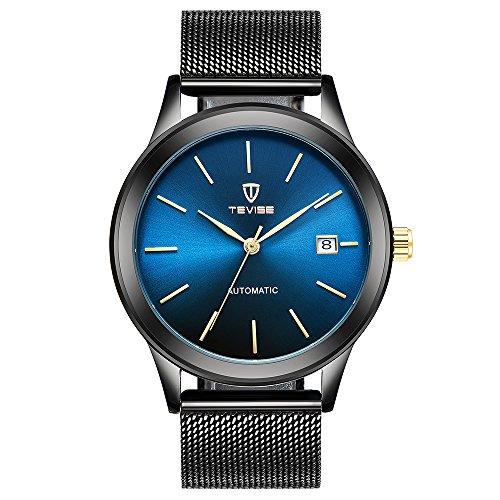 TEVISE Herren Automatik Mechanische Armbanduhr Wasser-Proof Mesh Edelstahl Band Casual Uhr+Box