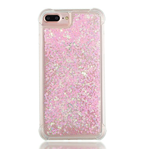 3C-LIFE iPhone6 Plus [1Case + 1Holding Strap] Cute Shiny Luxury Floating Glitter Case Girls Women Sparkle Bling Quicksand Liquid Cover Clear TPU Bumper Case for iPhone6 Plus (PinkStar) (Bling Plus Cover Iphone6)