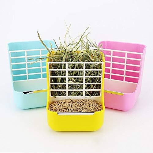 creatspaceE 2-in-1 Grasrahmen Kaninchenfuttertopf für Kleintierfutter, universell einsetzbar, für Haustiere, Chinchilla, Feste Grasablage, Blau