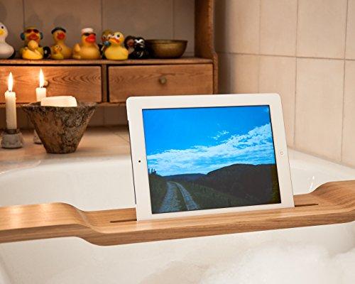 Preisvergleich Produktbild Halterung / Halter für iPad und tablet für die Badewanne für iPad Air, Air 2, Pro und ähnliche Modelle - WOOD U RELAX (80 cm)