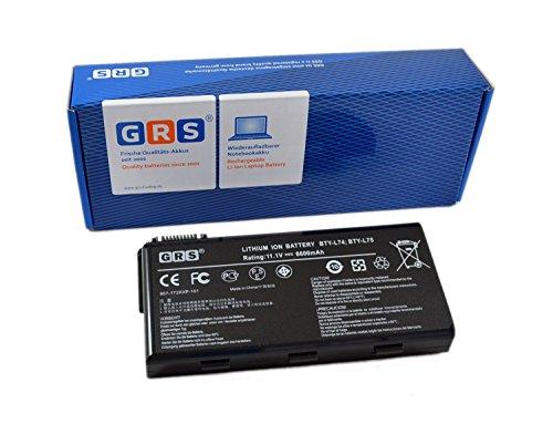 GRS Batterie d'Ordinateur Portable fç ¬ R MSI CR620, MSI CX705, CX600, CR600, CR610, CR630, CX623 remplace : BTY-L74 pour 957-173 X XP-102, BTY-M68 BTY-L75, 957-173 X XP-102 101 Ordinateur Portable Batterie 6600 mAh, 11,1 V