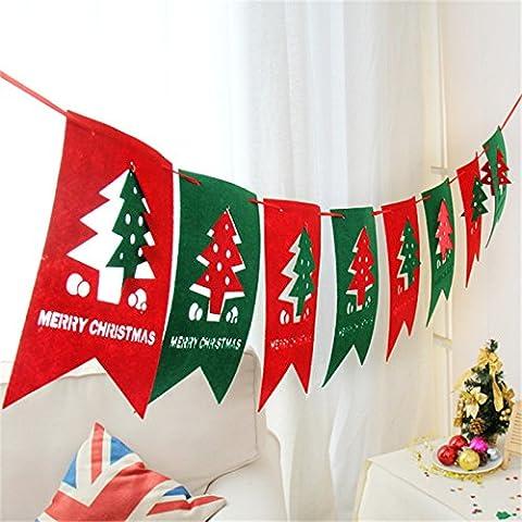 Valoxin(TM) 2.5m Feliz Navidad de la Navidad Decoraci¨®n de la parte Cuelgue Ventana ¨¢rbol Tire del partido rojo y verde de la bandera de la Navidad Pub Banner 3pcs regalos de
