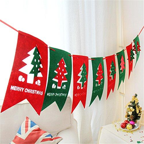 valoxin (TM) 2.5M Feliz Navidad de la Natale decoraci š ® n de la parte cuelgue finestra š ¢ rbol Tire del partido Rosso e Verde della Bandiera di Natale Pub Banner 3pcs regali di Natale š¢rbol de Navidad