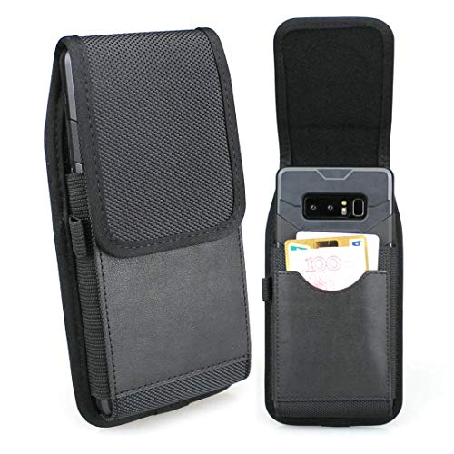 aubaddy Vertikal Nylon Hülle Case Gürtel Gürteltasche für Samsung Galaxy Note 9, Note 8, Galaxy S8 Plus, S9 Plus, Galaxy A9 Star, A9 Star Lite - Passt mit TPU Hülle oder Dünnes Case (Schwarz)